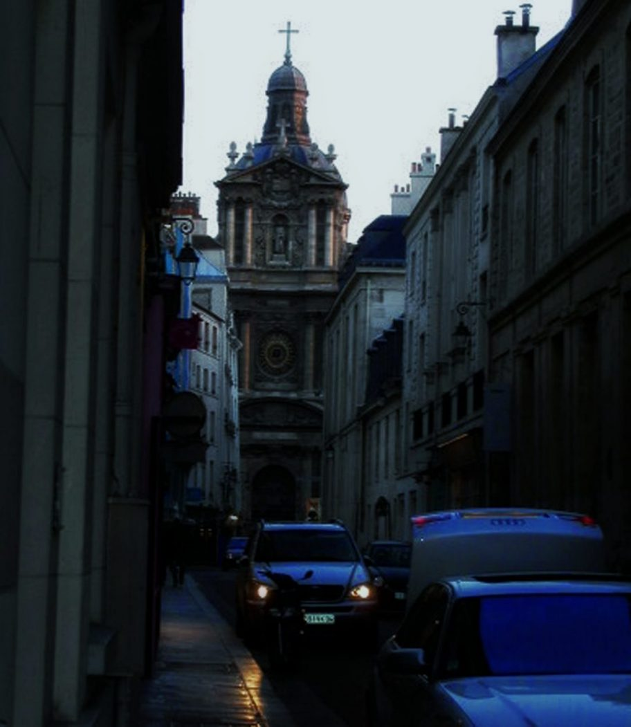 rue de Sévigné Paris dusk church