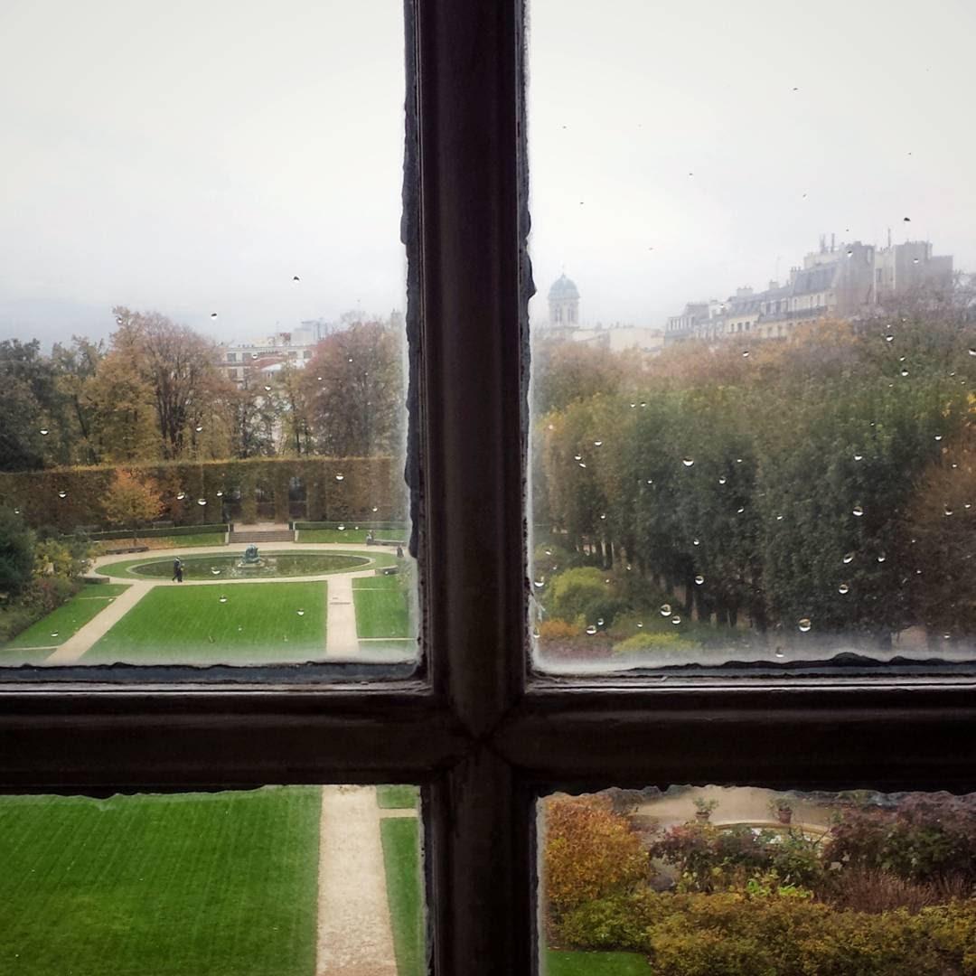 Musée Rodin Paris through window onto garden