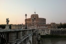 Castel Sant'Angelo Rome river bridge angels ancient Roman building sunset