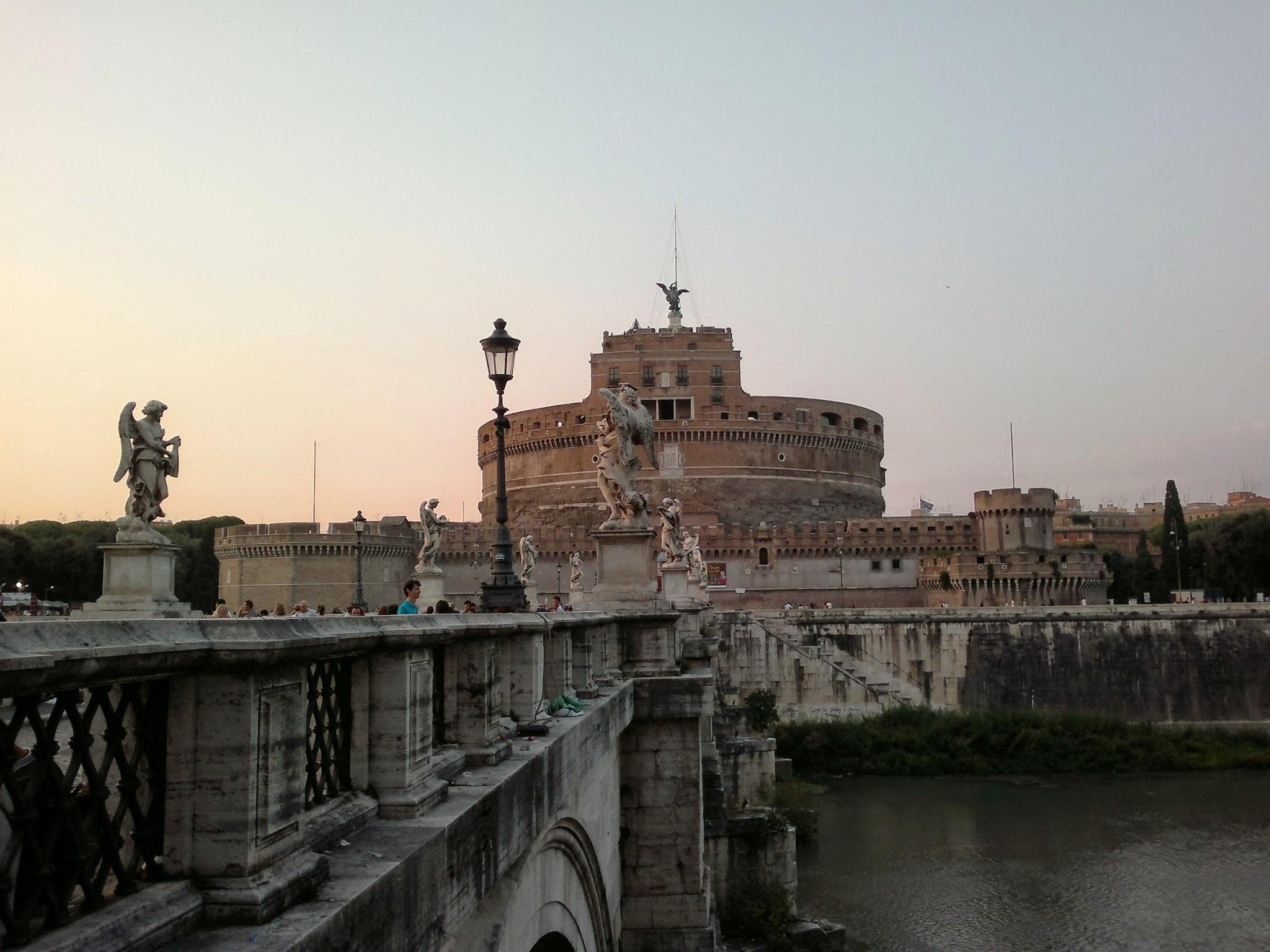 Castel Sant'Angelo Rome river bridge angels ancient Roman building sunset