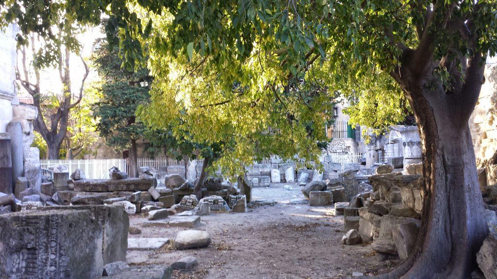 Roman Theatre Arles stone fragments tree