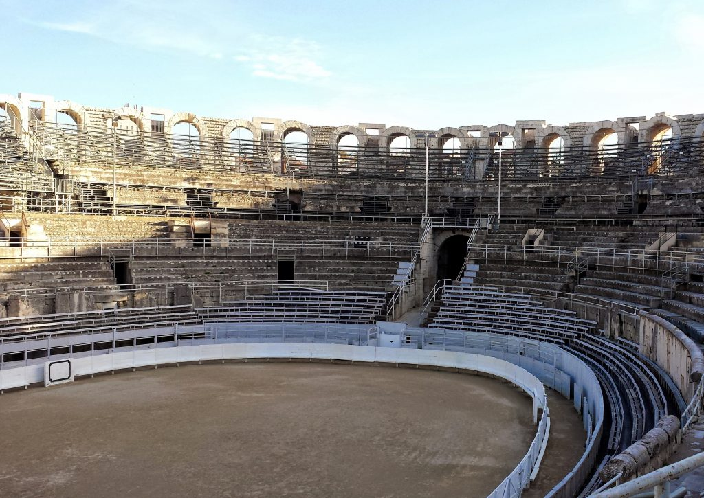 interior Roman Arles amphitheatre empty seating