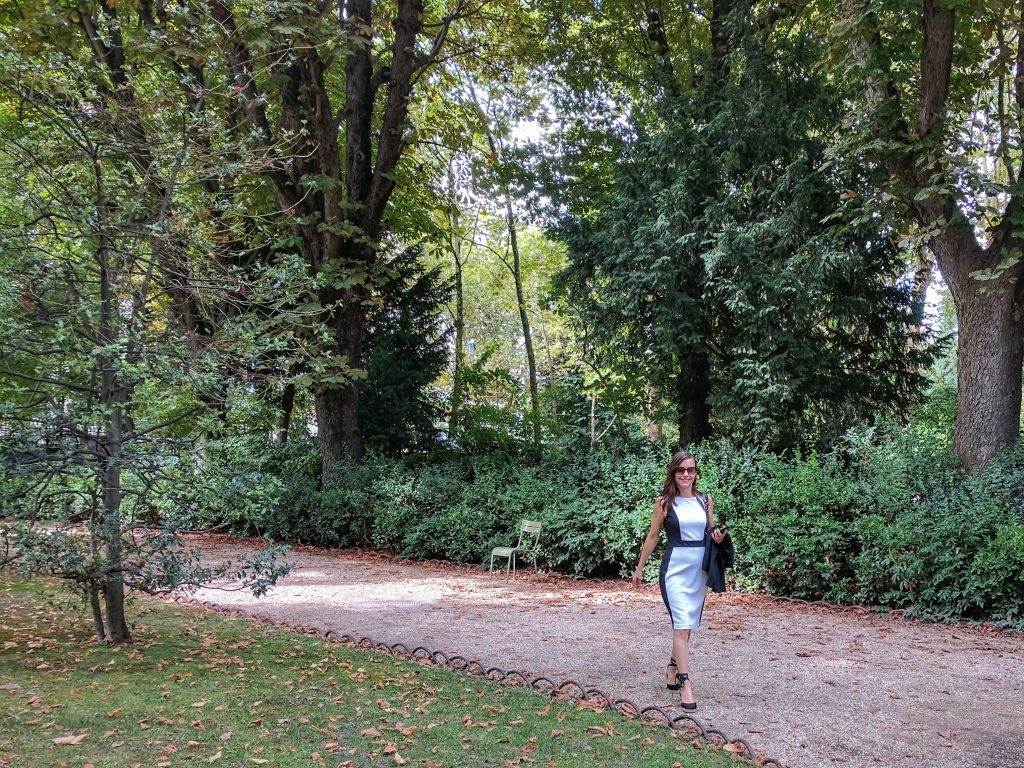 woman walking on garden path Jardin du Luxembourg