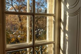 view from window light iron scroll work autumn trees