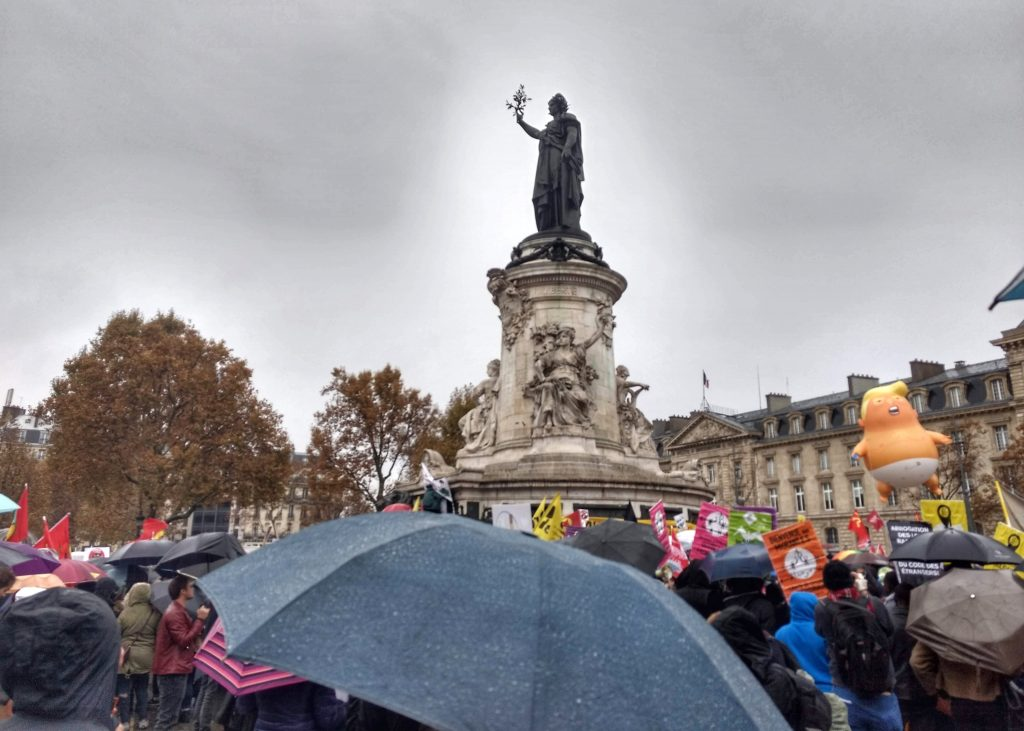 crowd protest statue Place de la Republique Paris