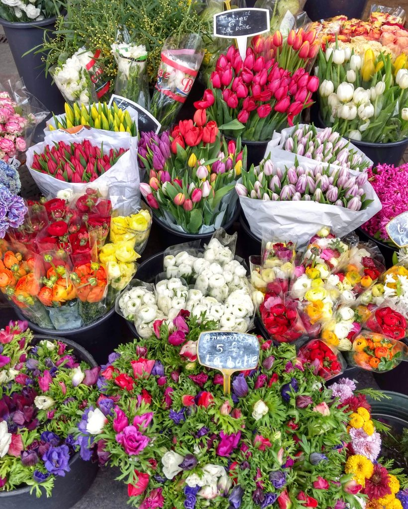 close of up flowers at a flower stall in Marche des Enfants Rouges tulips anemones renunculus
