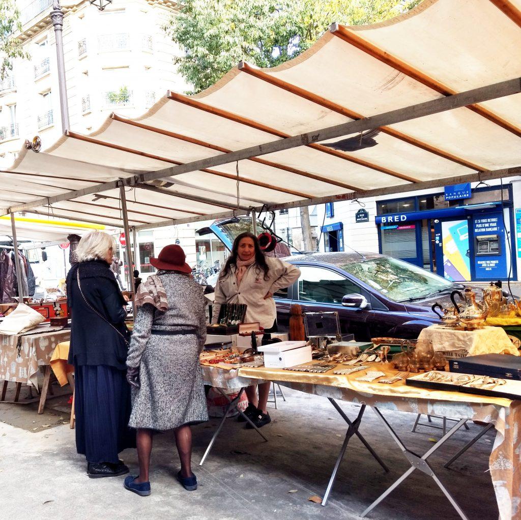 flea market tables Paris street