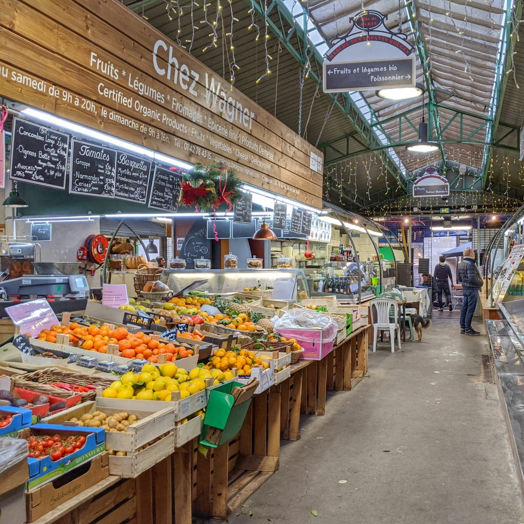 covered market Paris fruits vegetables