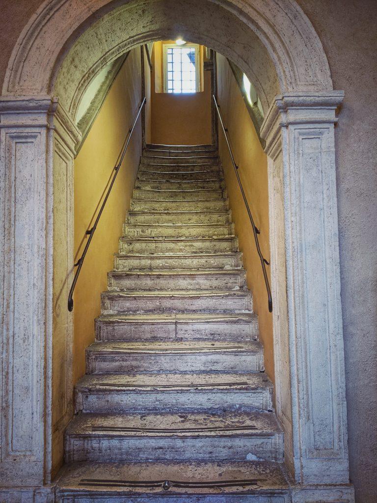 stone stairs Chiostro del Bramante Rome