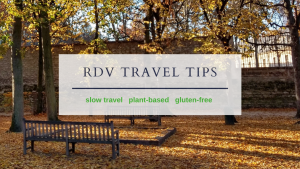 Rue de Varenne, Travel Tips lettering over a fall garden