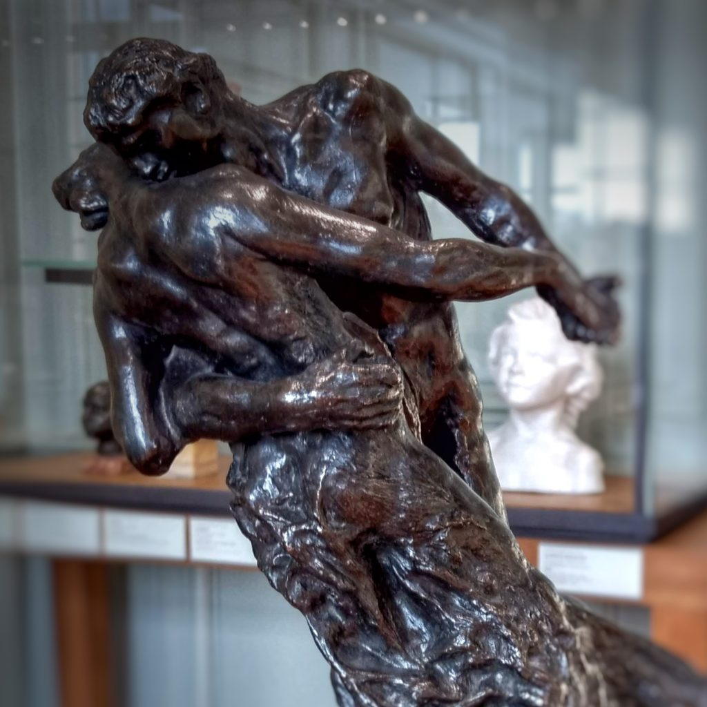 nude bronze sculpture man and woman dancing